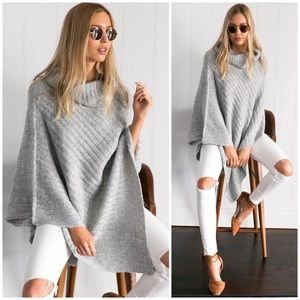 Light Gray Ribbed Knit Batwing Poncho Sweater
